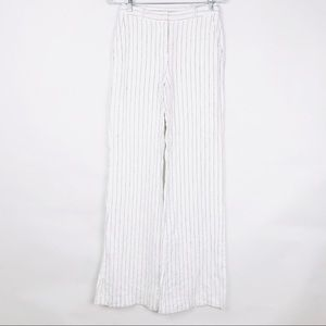 Michael Kors Stripe Straight Leg 100% Linen Pants